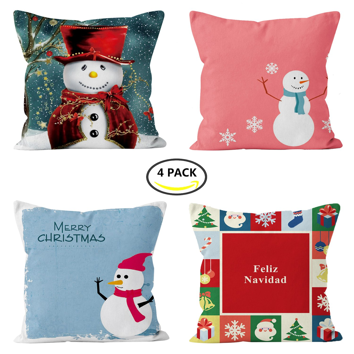 4 Pack Christmas Pillow Covers, Sublimation Print Snowman, Christmas Tree ,Santa Claus, Merry Christmas Decorative Sofa Throw Pillow Case Cushion Covers 18 X 18 Inch, Short Plush Fabric (4 pack)