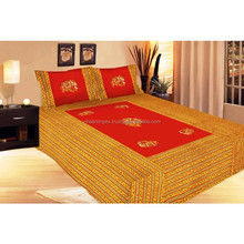 Rajasthani Applique work 3 Piece Double Bed Sheet With Pillow Cover