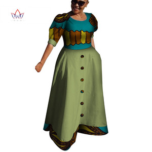 Traditional African Dresses for Women Long Maxi Dress African Print Bazin Riche Ball Gown Women Casual Clothing Plus Size WY4254