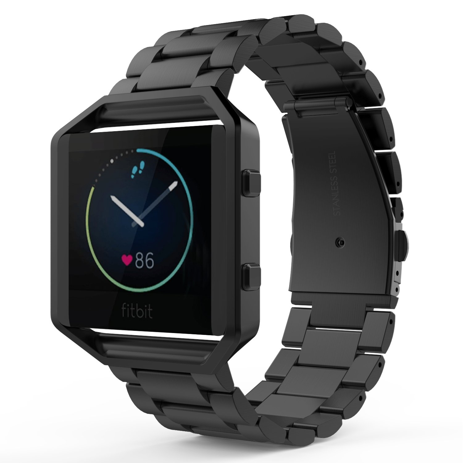 MoKo Fitbit Blaze Band , Universal Stainless Steel Watch Band Strap Bracelet with Spring Pin for for Fitbit Blaze Smart Fitness Watch, Frame NOT Included - BLACK