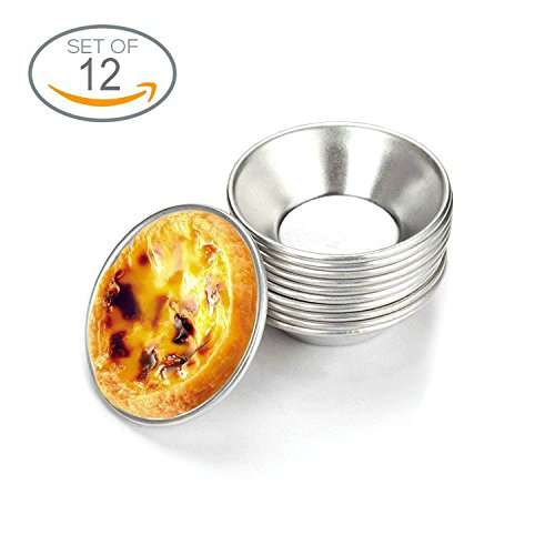 Mini Egg Tart Molds Small Pie Muffin Cupcake Pans Tins Dishes Round Non Stick Baking Cups Bakeware for Cake Cookie Cheesecake Pudding Aluminum Mould 12 Pcs