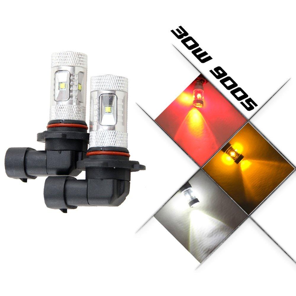 NSLUMO 2x 9005 HB3 P20d 9005SL 9005SL+ Projection LED Super Bright 30W Fog Light DRL Bulb Car Light Source parking 12V(9005 HB3, Red)