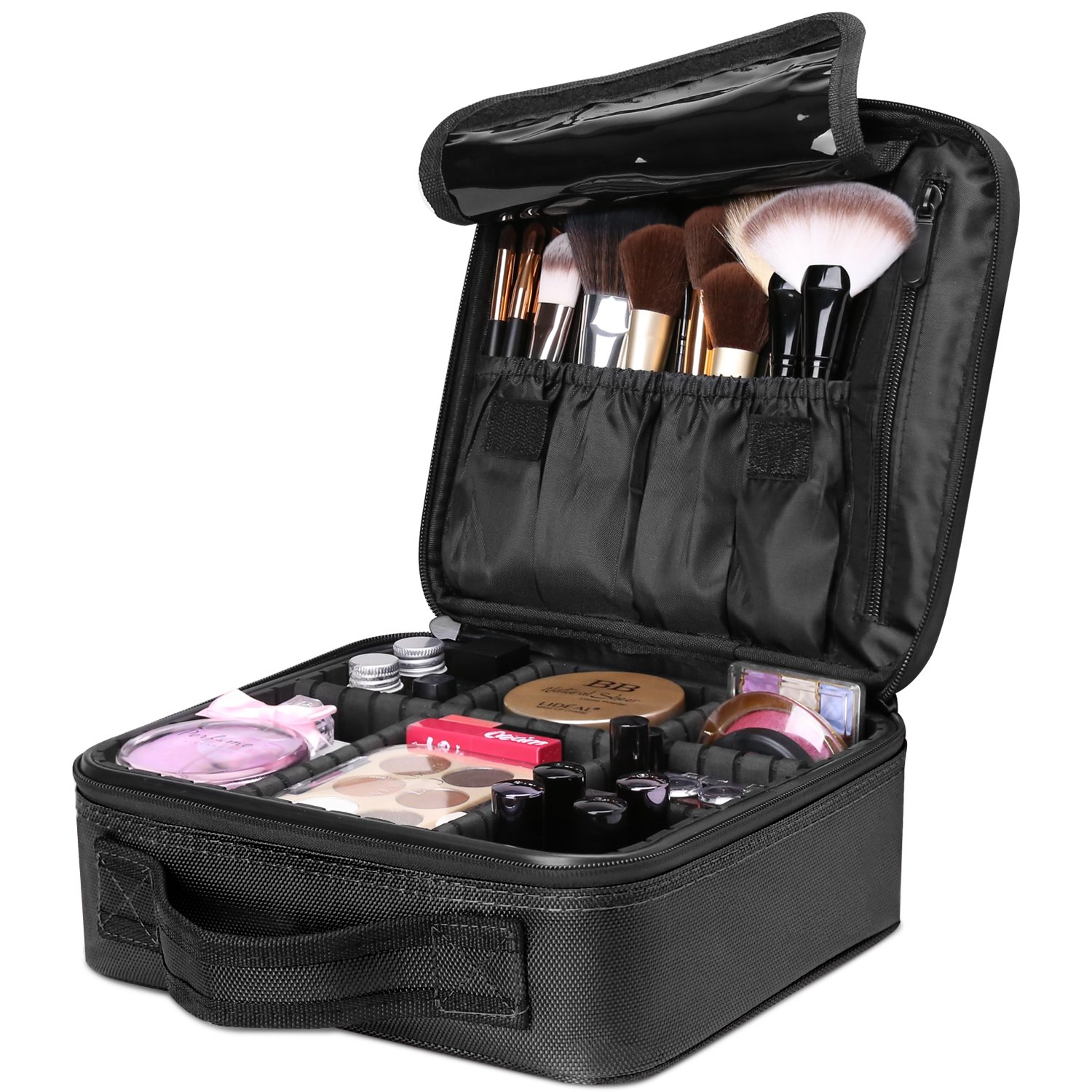Luxspire Makeup Cosmetic Storage Case, Professional Make up Train Case Cosmetic Box Portable Travel Artist Storage Bag Brushes Bag Toiletry Organizer Tool with Adjustable Dividers
