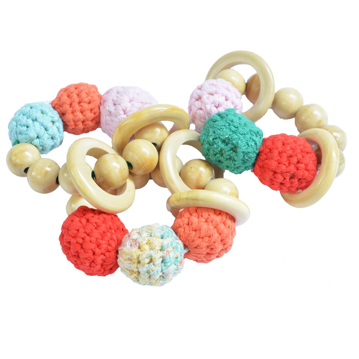 Shumee Wooden Soft Crochet Beads Chew Toy, Saliva-Proof Rattle Rings & Teether for Babies | Sensory Toy|100% Safe, Natural & Eco-Friendly |Discover Sounds| 0 - 1 Year