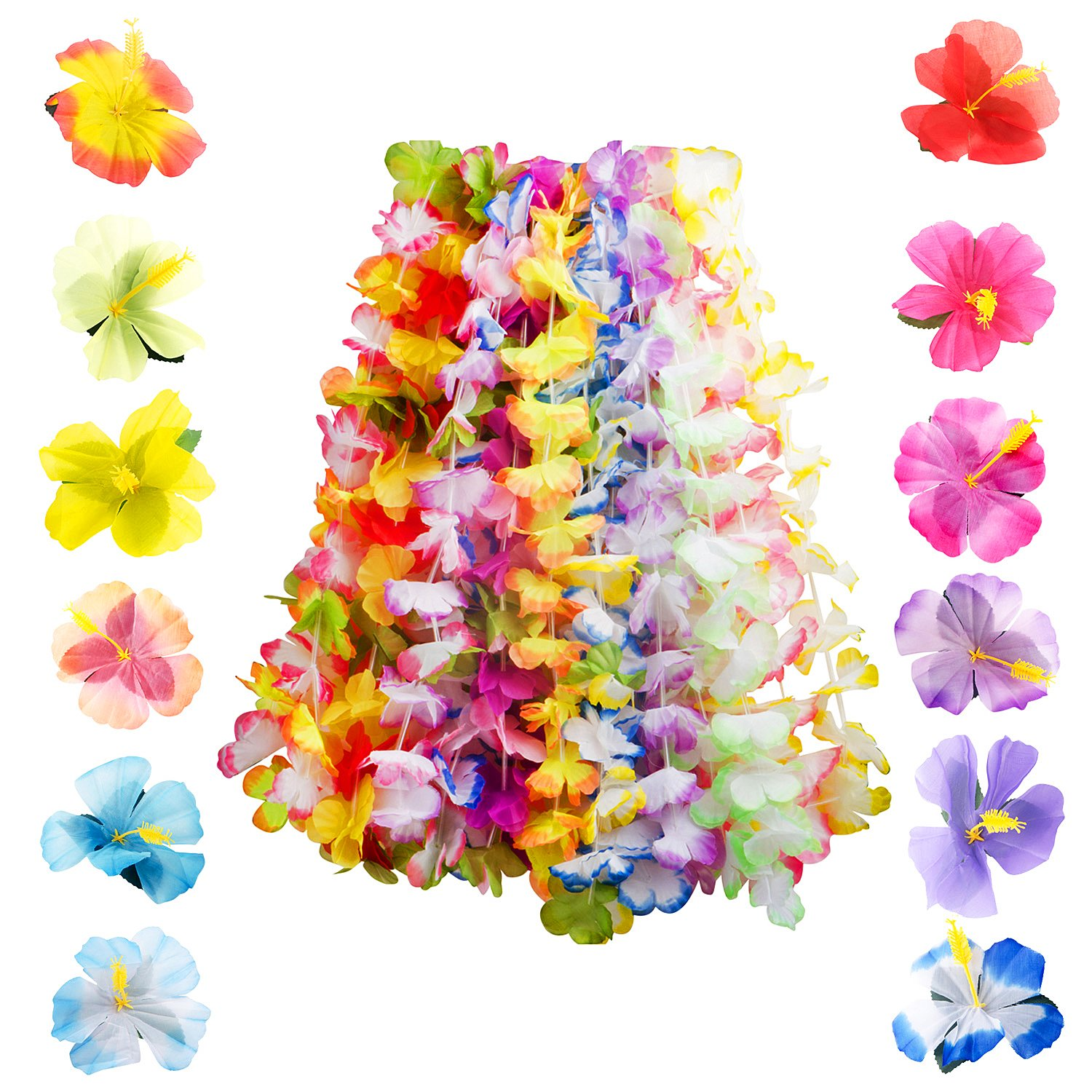48 Counts Tropical Hawaiian Luau Flower Set - 36 Counts Ruffled Flower Lei Garlands & 12 Counts Hibiscus Flowers Tabletop Decoration - for Beach Themed Parties, Luaus, Tiki Bar Decor