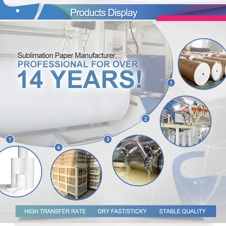 Factory supply free sample fast dry/sticky 111.8cm 160cm 100gr/m2 transfer sublimation paper