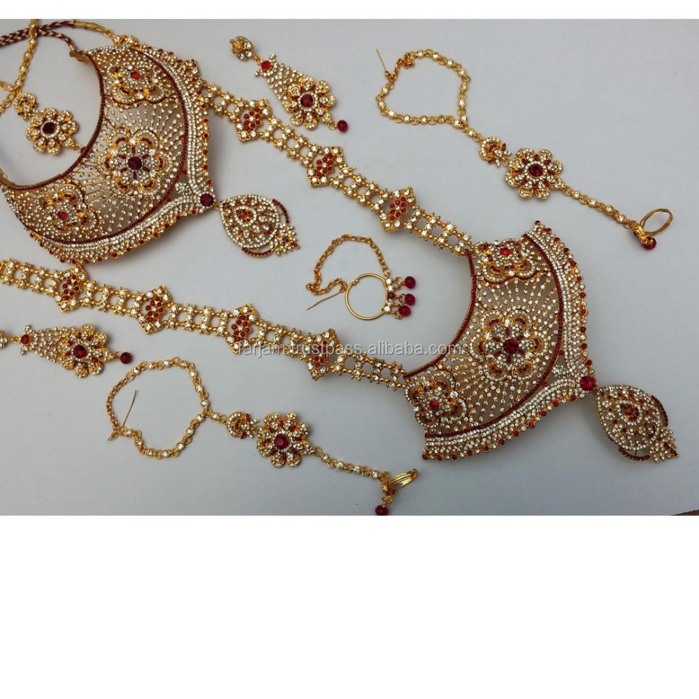 Jewelry & Watches Punctual Indian Big Drop Sets Kundan Gold Plated Choker Earring Ethnic Indian Culture Pretty And Colorful