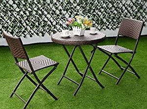 K&A Company Set Patio Table Chairs Iron Vintage Dining Woodard Wrought Mid Century Chair Cast Aluminum Folding Bistro Set Rattan Wicker Outdoor Furniture 3PC Brown