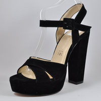 Women High Heel Sandals Shoes Pumps - Black - Suede - Fully PU - Premium Quality & Craftsmanship - Made in Turkey - 220