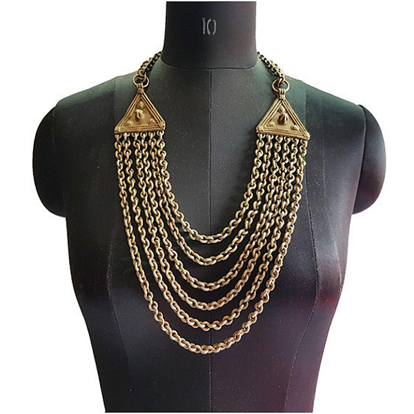 Banjara Vintage Tribal Collier Chaîne Gitane Nomade Chunky Triangle Disques Grand Collier Ethnique