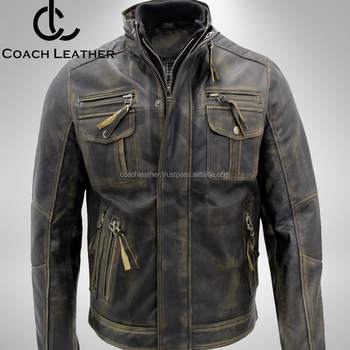 Vintage Brown Waxed Winter Season Real Leather Jacket For Men Buy
