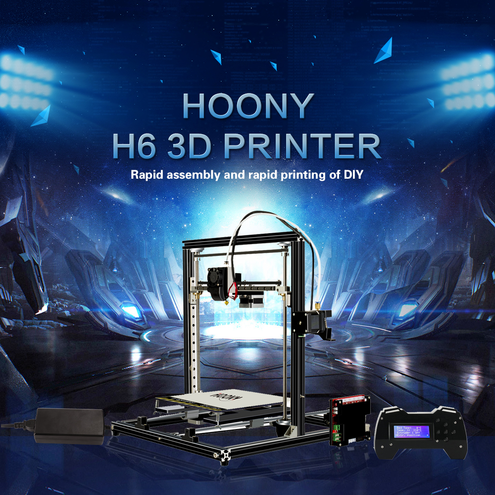 HOONY 2018 new H 6 3D printer, fast printing, linear guide running mode, high precision, low noise, safety.