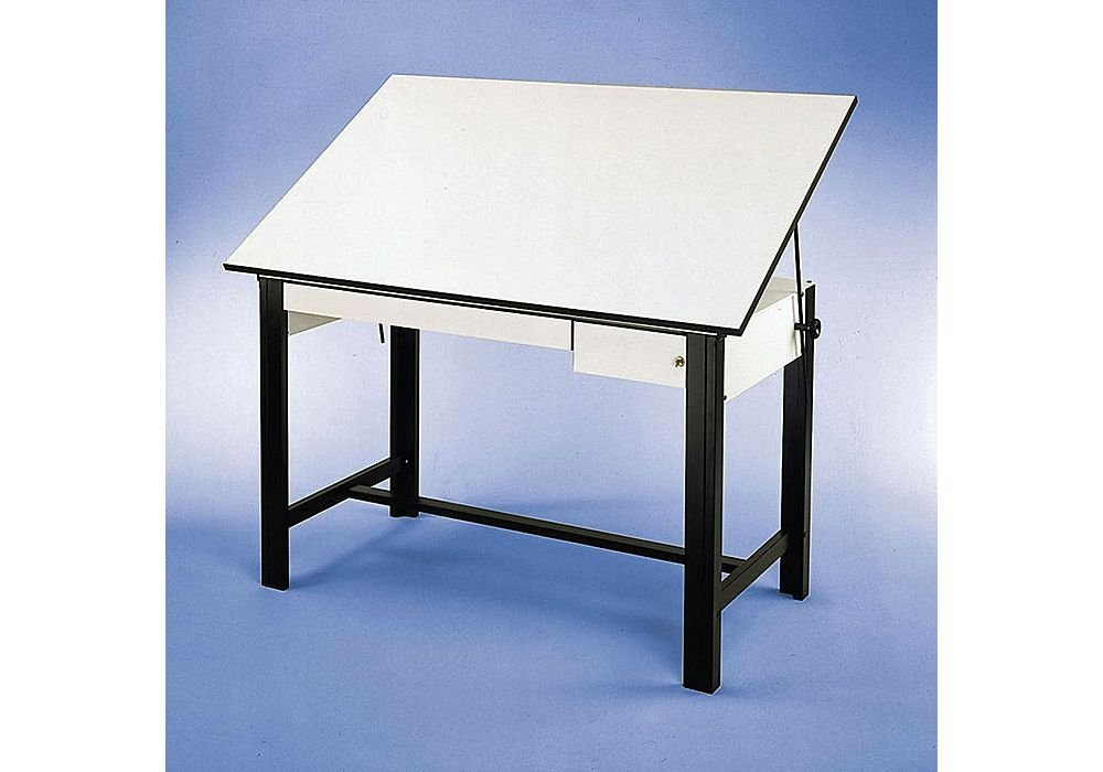 "Designmaster Four-Post Drafting Table With Black Base White Top/Black Base Dimensions: 60""W X 37.5""D X 37""H Weight: 153 Lbs"