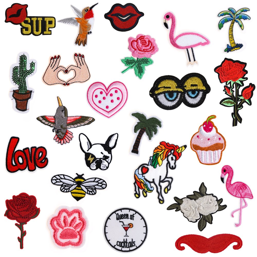 Iron On Patches 24 Pieces - Assorted Cool Patches Fabric Embroidered Patches Motif Applique Kit Decoration, DIY Sew on Patch For Clothing, Jeans Jacket, Handbag, Backpacks, Skirts, Canvas Shoes, Caps