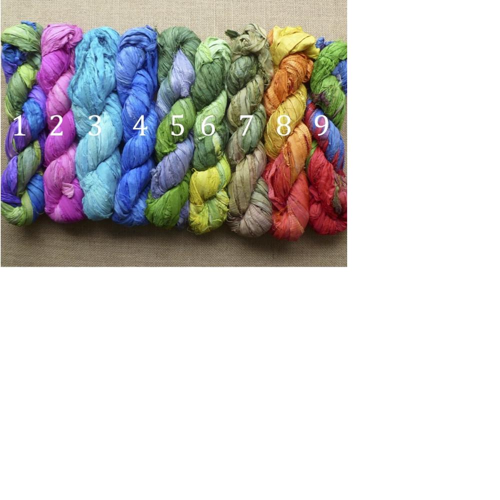 10 Skeins Crafts Sari Silk Ribbon Yarn Golden Yellow Undyed Recycled