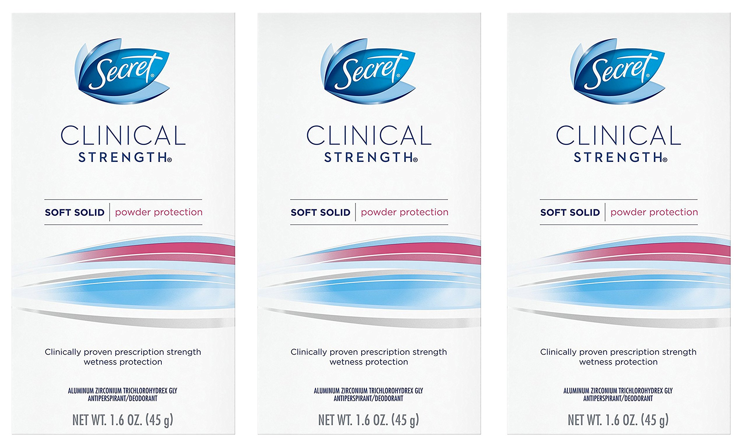 Secret Clinical Strength Antiperspirant and Deodorant Soft Solid, Powder Protection, 1.6 Oz.  ( Pack of 3 ) ( Packaging may Vary )