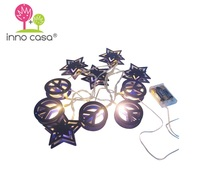 OEM ODM Battery Operated Fancy Purple 10-Lights Star and Peace LED String Light for Kids Room Lighting Decoration