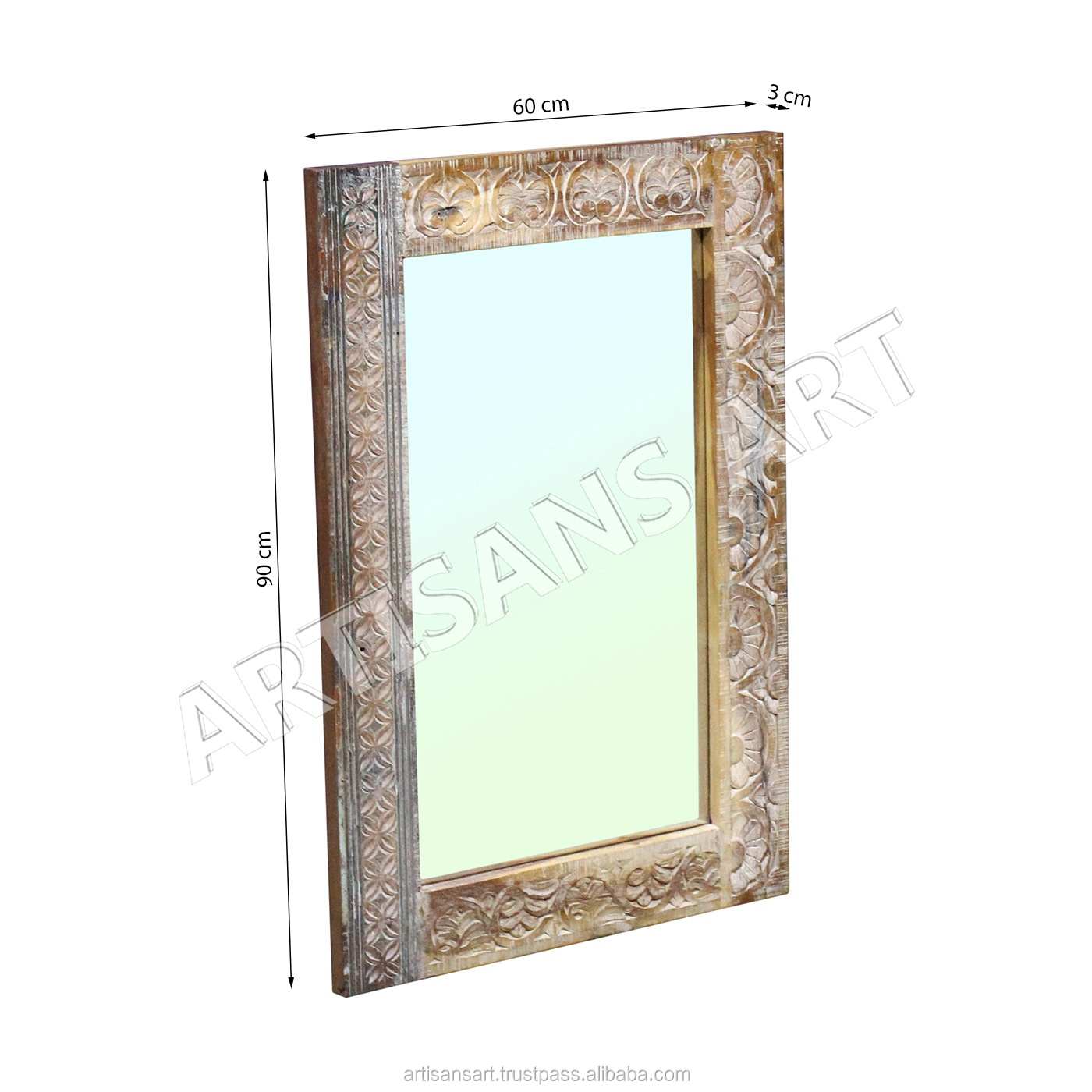 Solid Wood Carving Mirror Hand Carved White Distressed Solid Wood