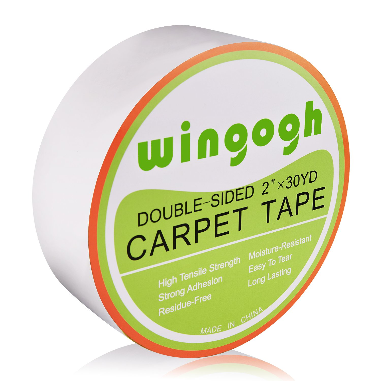 Double Sided Carpet Tape - Wingogh Multi-Purpose Double Sided Duct Tape Removable Anti Slip Non Skid Rug Pad Carpet Underlayment Adhesive Indoor and Outdoor Better than Rug Gripper, 2-Inch x 30 Yards