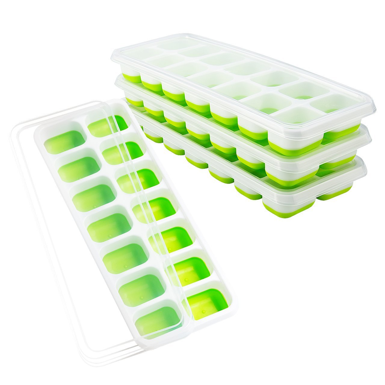 OMorc Ice Cube Trays Easy-Release, 14 Ice Cubes Molds (Pack of 4) and Spill-Resistant Lid Included, LFGB Certified Easy to Use and Dishwasher Safe