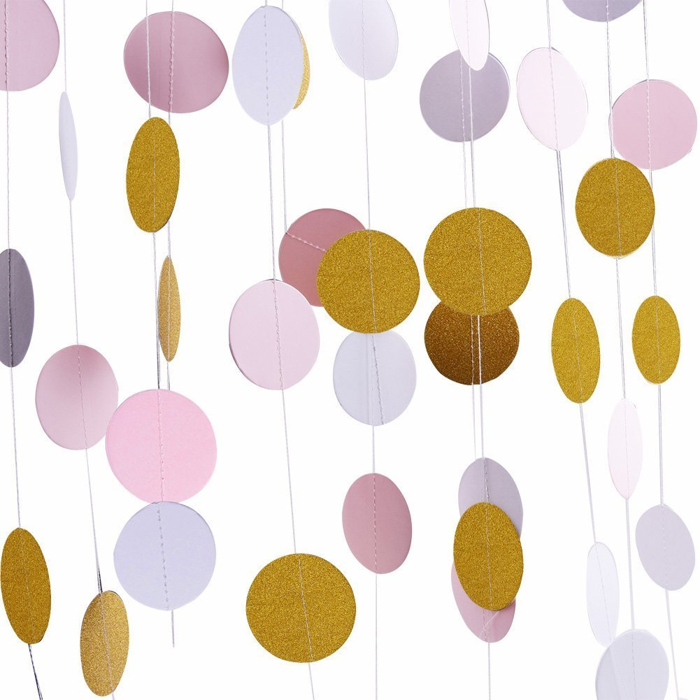 eZAKKA 4 Pieces Glitter Decorations Garland, Party Garland Backdrop for Wedding, Party, Bridal Showers and Baby Shower, 8.2 Feet Circle Dots Hanging Decor(Gold Glitter/Pink/White)