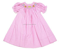 Infant/Tolder Girl Pink Gingham Smocked Birthday Party Bishop Dress