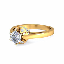 Unique Design 18k Yellow Gold Solitaire Ring for Engagement Wedding