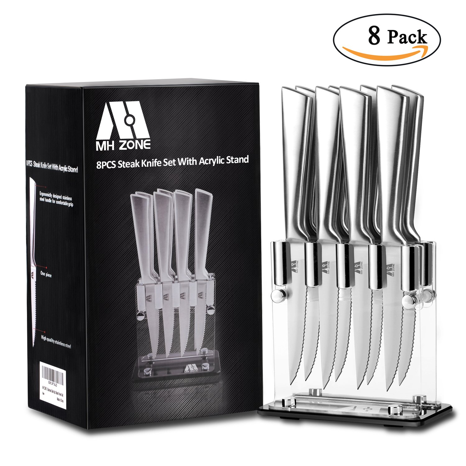 Steak Knife Set, MH ZONE Premium Stainless Steel Steak Knife Set of 8 with Acrylic Block, Perfect Gift