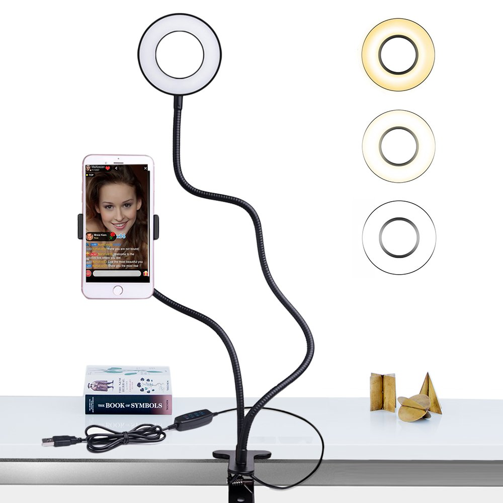 Selfie Ring Light with Cell Phone Holder Stand for Live Stream / Makeup, Bcway Clip Lazy Bracket for iPhone / Android, [3-Light Mode] [10-Level Brightness] LED Desk Lamp for Kitchen, Bedroom