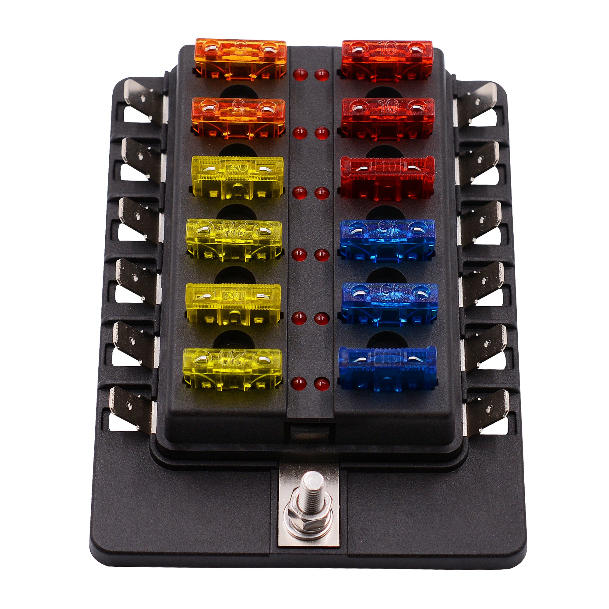 get quotations � bluefire 12-way 30a 32v blade fuse box board with 24pcs  fuse + led warning
