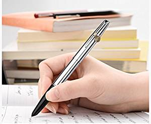 Hero 100 Fountain Pen 14K Fine Hooded Nib ,Stainlesss Steel in Luxury Gift Case Pen Set for Business Signature and Collection