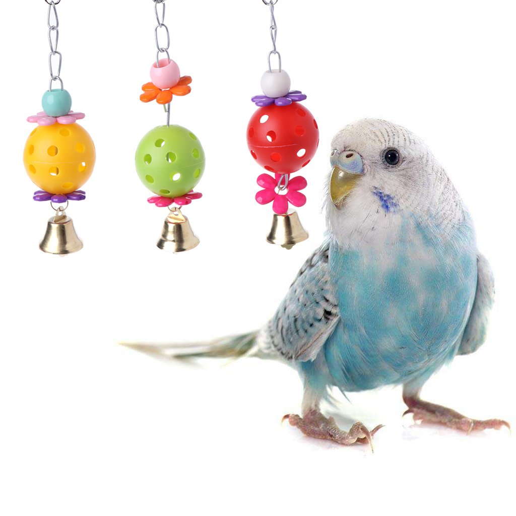 Pet Bird Bell Toys Chew Parrot Ring Hanging Swing Cage Cockatiel Parakeet Toy 3 Sizes Bird Toys Home & Garden