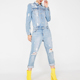 Women Denim Pants Slim Casual Overalls Long Sleeve Romper Trousers Ripped Jumpsuit Jeans