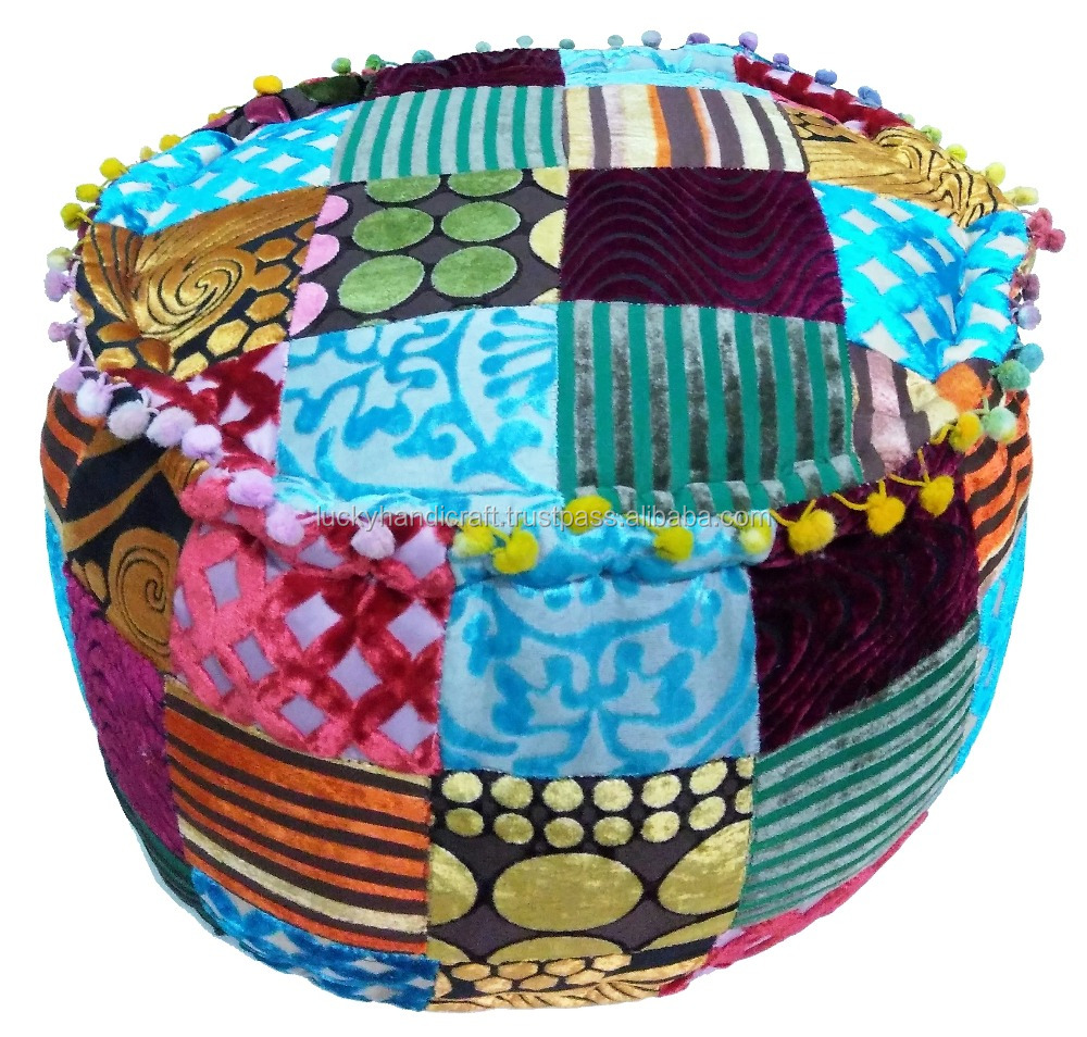 Indian handmade cotton pouf cover ottoman patch work