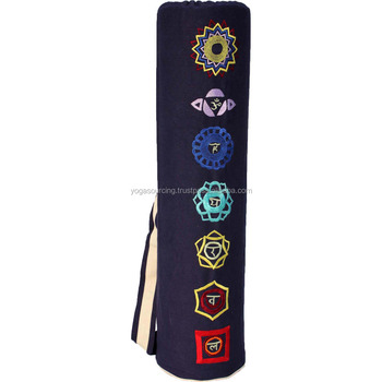 Personalize your own drawstring yoga mat bag with your logo & seven chakra embroidery