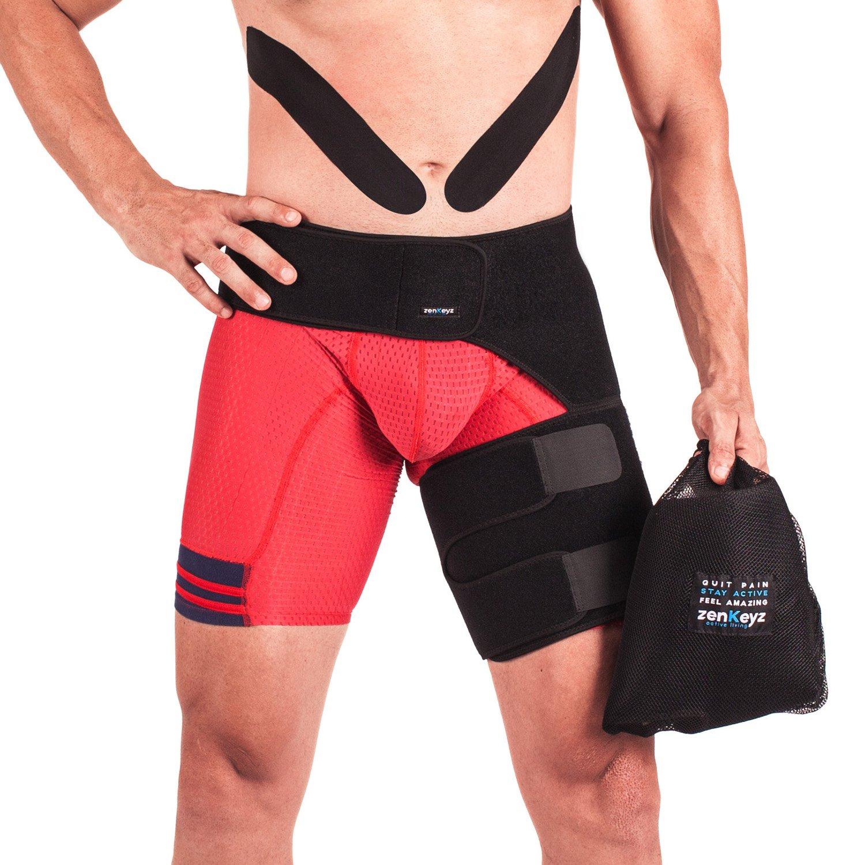 b6bdbaf36a Get Quotations · Zenkeyz Groin Support and Hip Flexor Wrap | Sciatica Brace  - Thigh Compression Belt for Men