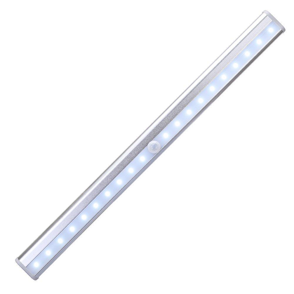 [Upgrade Version]KEDSUM Motion Sensor Cabinet Light,20 LED Rechargeable PIR Motion Night Light Ligting Bar,Stairs Light Under Closet Wardrobe Light with Magnetic Base,USB Charging,2x Adhesive Tape