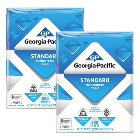 Georgia-Pacific Copy and Print Paper, 8.5 x 11 Inches Letter Size, 92 Bright White, 20 Lb, 1 Ream (500 sheets) Poly Wrapped, 2 Pack