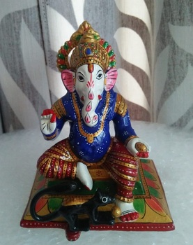 Ganesha with mouse Murti Hindu God Vedic Statue meenakari Rich Art And Craft Handicrafts Jaipur