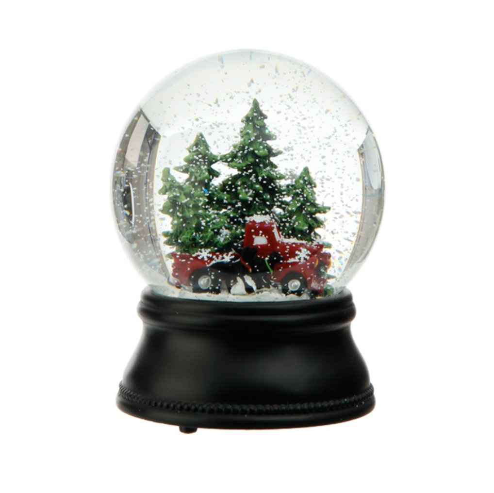 raz wind up musical old fashioned truck dogs and trees snowglobe plays oh christmas - Christmas Trees Cheap