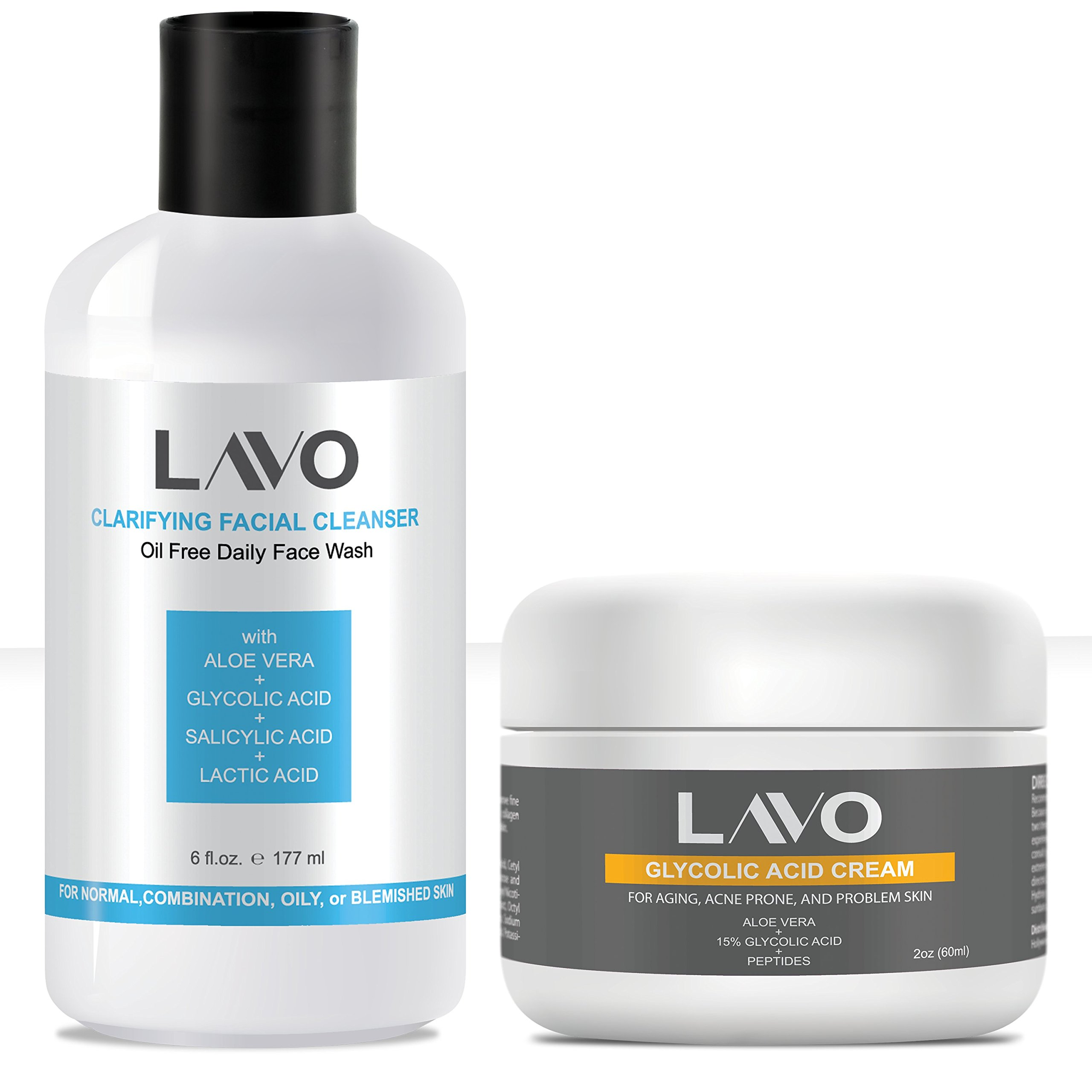 BEST Glycolic Acid Face Wash (10%) & Face Moisturizer for Oily, Acne Prone, Combination, and Sensitive Skin (2 pack Bundle) - by LAVO (Cleanser + Daily Moisturizer Cream)