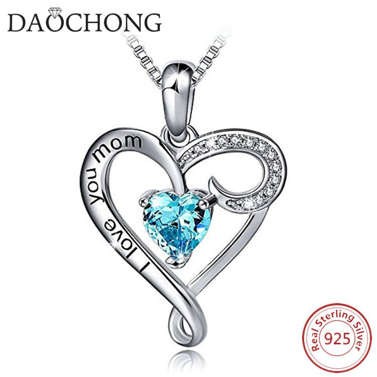 Hot Sale Mother's Gift Jewelry 925 Sterling Silver I Love You Mom Heart Pendant Necklace