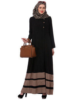 Dubai Kaftan Dress Beige Block Formal Black Abaya Muslim Dress Islamic Clothing