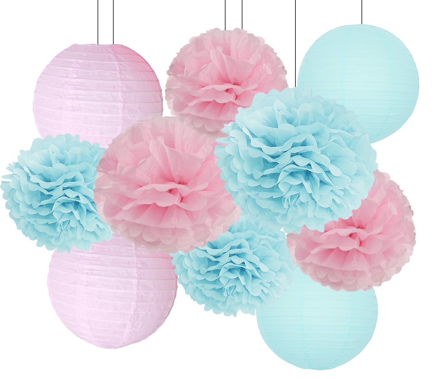 Gender Reveal Party Decorations Baby Shower Decorations Baby Blue Pink Tissue Paper Pom Pom Flowers Paper Lanterns for Birthday/Pink and Blue Decorations /Gender Reveal Decorations