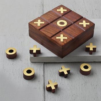 Braun Holz Tic Tac Toe Spiel Box Mit Lagerung Für Holz Naughts Und