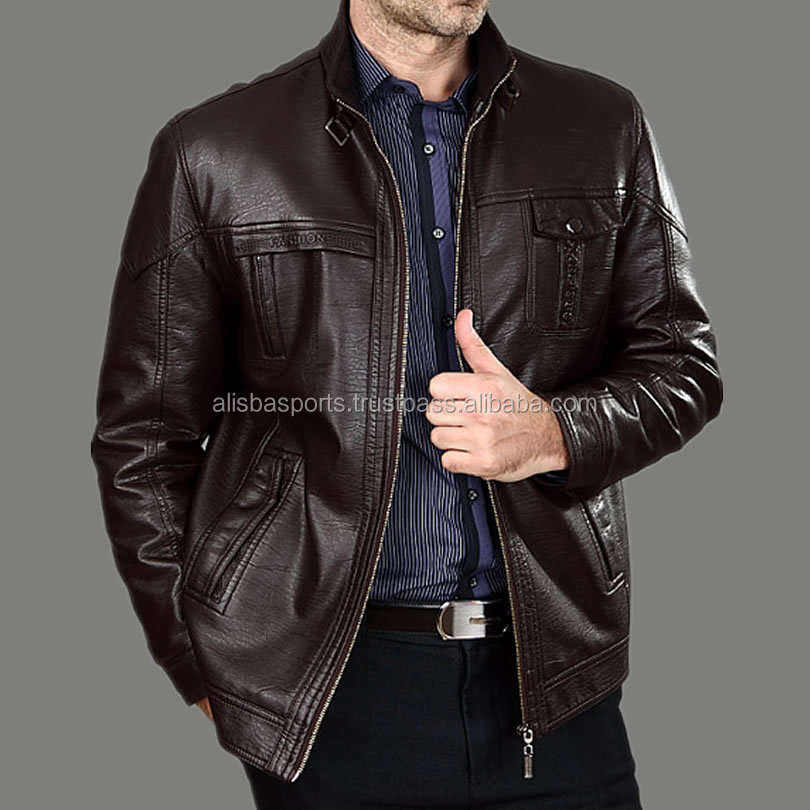 Autumn Middle-aged Men's Leather Jackets Fashion Winter Man With Thick Fur Big Yards Men's Leather Coat 100%cotton