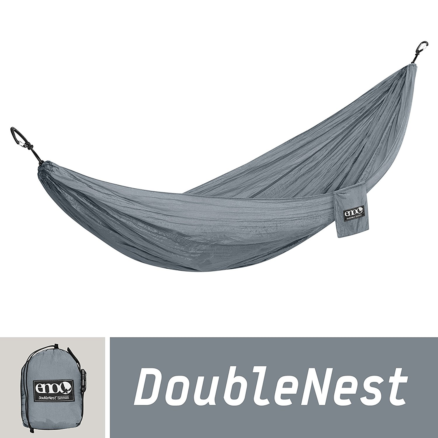 ENO Eagles Nest Outfitters - DoubleNest Hammock, Portable Hammock for Two, Grey
