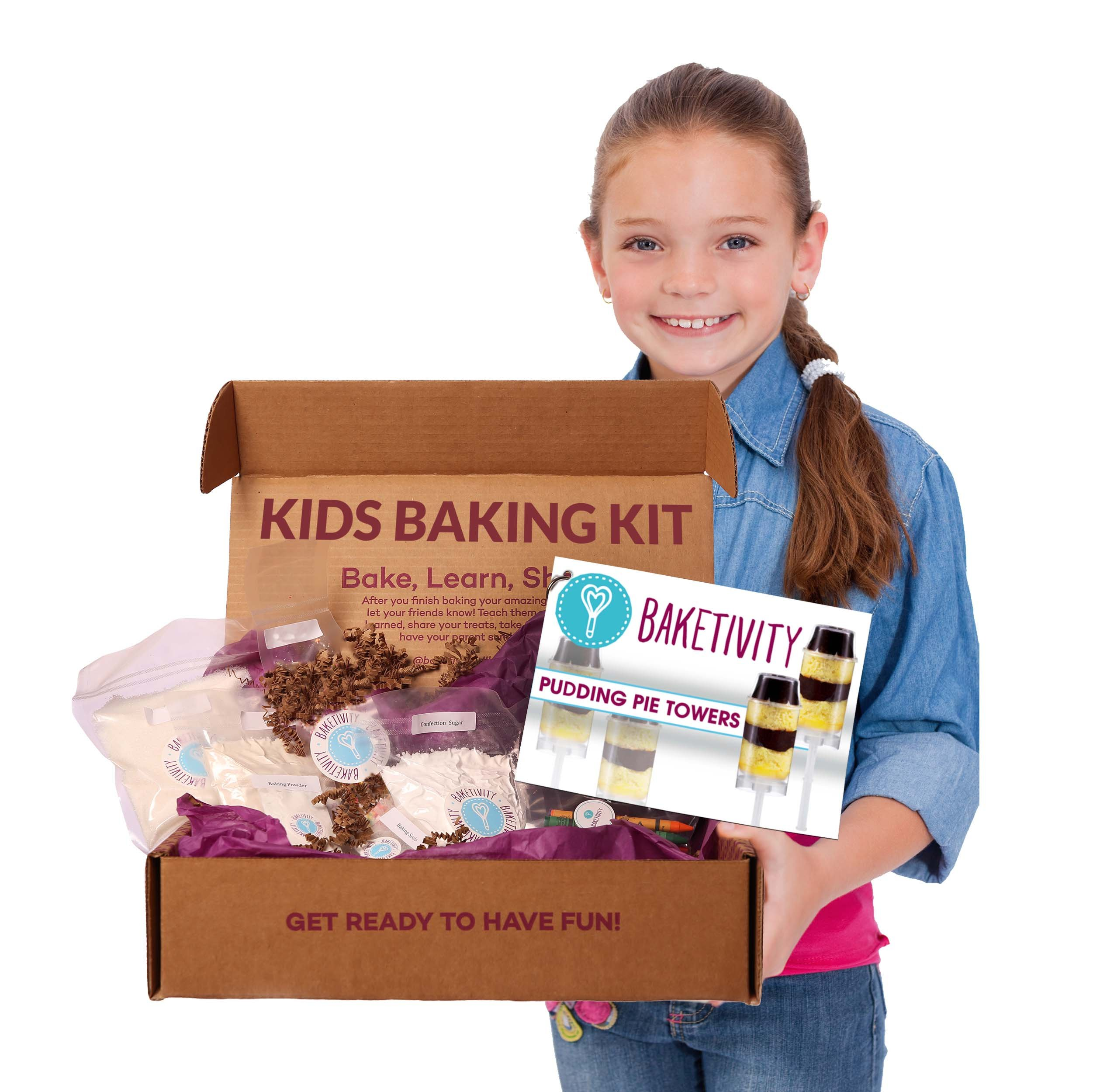 Baketivity Kids Baking Set, Meal Cooking Party Supply Kit for Teens, Real Fun Little Junior Chef Essential Kitchen Lessons, Includes Pre-Measured Ingredients, Pudding Pie Towers