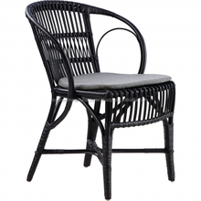 Black rattan dining chair crafted from rattan