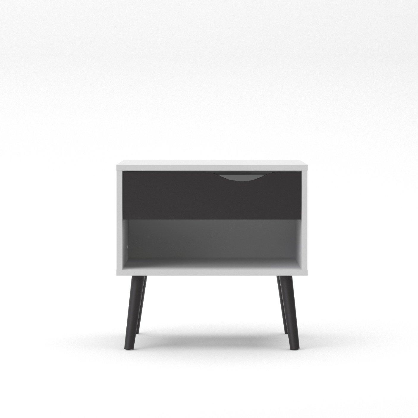 Tvilum 7539449gm Diana 1 Drawer Nightstand, White/Black Matte